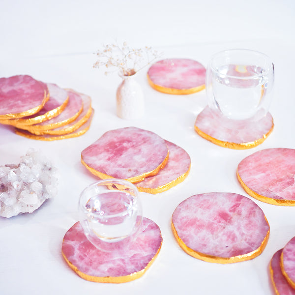 Rose Quartz Coasters with 18K Gold Edging