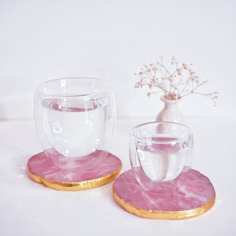 Rose Quartz with Gold Coasters