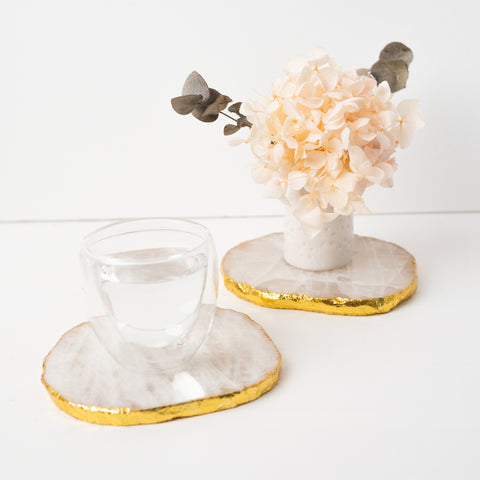 White Quartz Coasters with 18K Gold Edging
