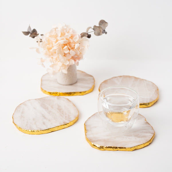 White Quartz with Gold Coasters