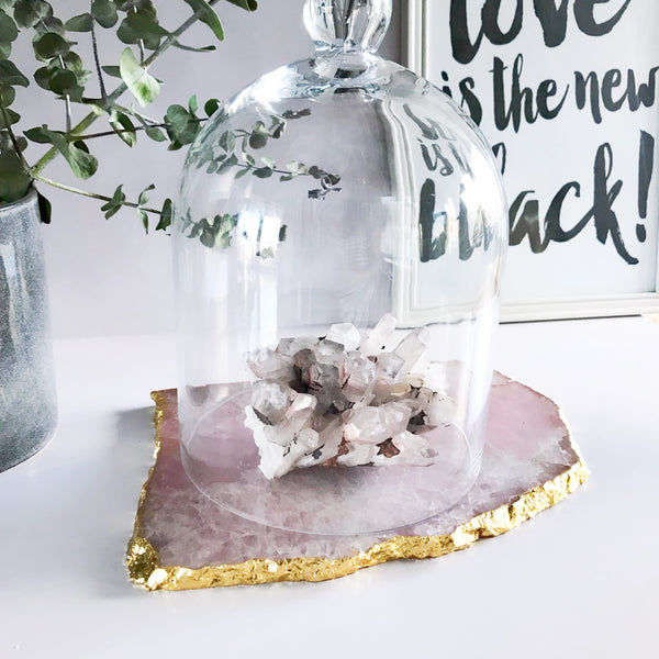 Rose Quartz Platter with 18K Gold Edging