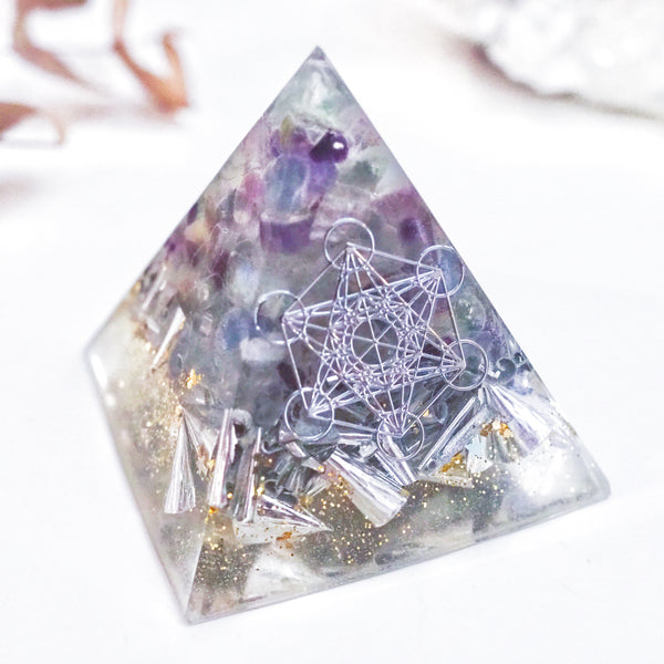 Pyramid Orgonite | Fluorite | Third Eye Chakra
