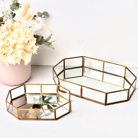 Octagonal Glass Mirror Tray