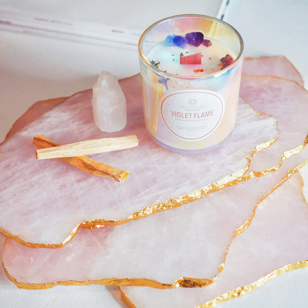 Rose Quartz Platter with 18K Gold Edging - Pre-Order Now for Feb21 Delivery