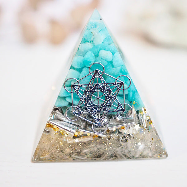 Pyramid Orgonite | Amazonite | Throat Chakra