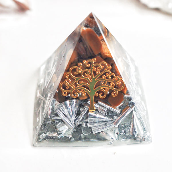 Pyramid Orgonite | Tiger Eye| Solar Plexus, Sacral Chakra