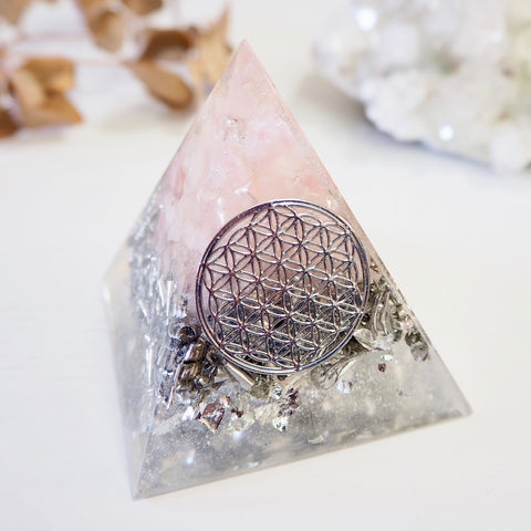 Pyramid Orgonite | Rose Quartz (Silver) | Heart Chakra