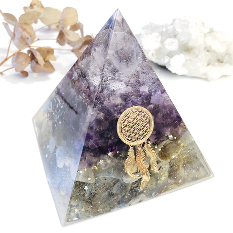 XLarge Pyramid Orgonite | Clear Quartz, Amethyst, Labradorite | All Chakras