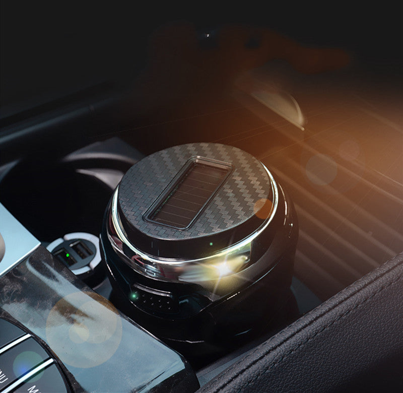 Detachable Stainless Steel Car Ashtray with Lid and LED Light, Powered by Solar Energy/Battery
