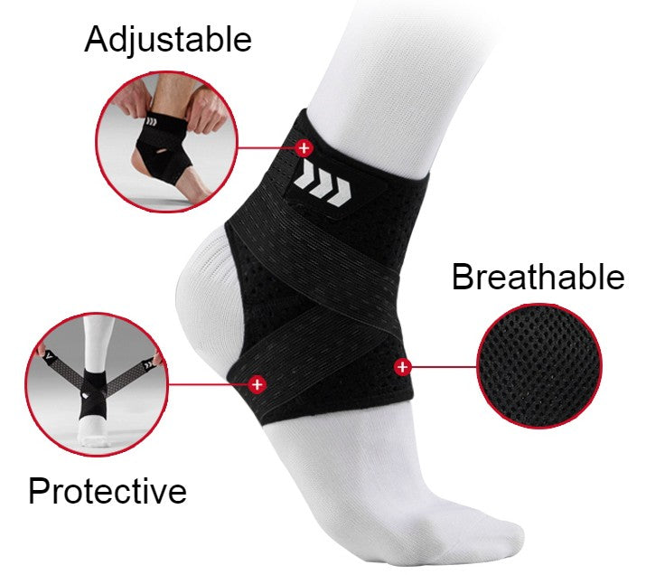 Adjustable & Breathable Ankle Support Brace, with Perfect Ankle Sleeve and Compression Design, Fits for Men & Women, for Sports Protection (1 Pair)