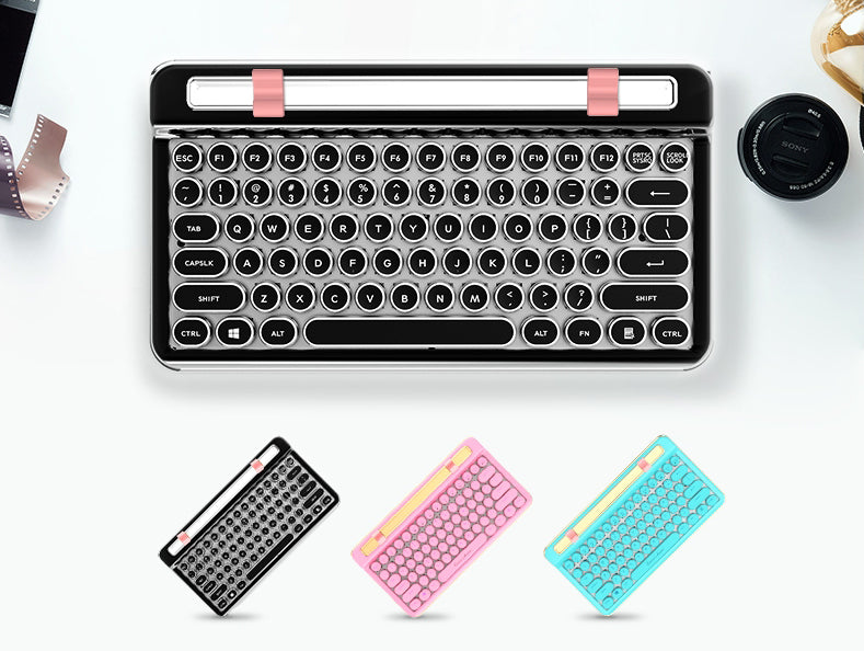 Portable Bluetooth Wireless Mechanical Keyboard, with 76 Keys, Dual Connection Modes, Ergonomic Design, Phone/ Tablet Holder and Cool Light, for Study & Work