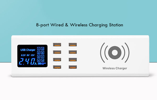 8-port Wired & Wireless Charge Station with Digital Display