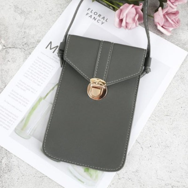 Phone Leather Shoulder Bag, with Adjustable Shoulder Strap and Transparent Touch Screen Compartment, for Phone, Cards, Cash & More
