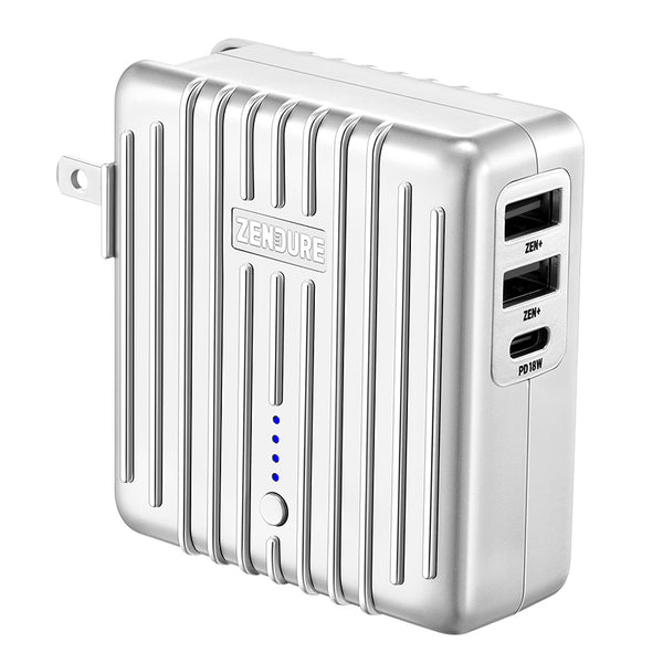 2-in-1 Portable Wall Charger & Power Bank, with 18W PD Fast Charging, 5200mAh Battery & 3 Ports, for Phone, Switch & Tablet (US Plug)