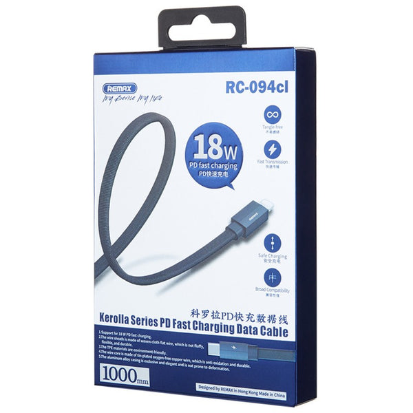 PD 18W Fast Charging Cable (1m), Type-C to Lightning, with Fabric-braided & Anti-tangle Design, for Phone, Tablet & More