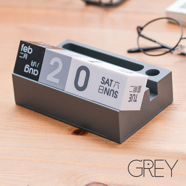 Multifunction Desk Perpetual Calendar Blocks with Phone and Pen Holder, for Home & Office Desk