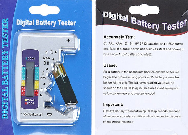 Portable Digital Universal Battery Tester, for C, AA, AAA, D, N, 9V & 1.5V Button Cell