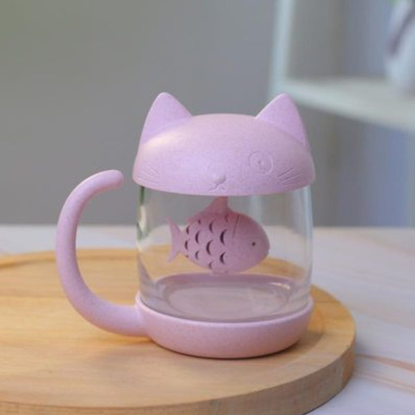 250ml Creative Cat and Fish Cup, with Tea Steeper, for Tea, Coffee, Juice, Milk and More