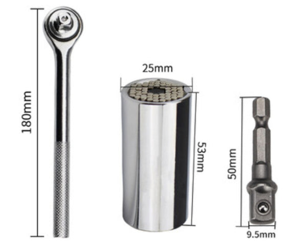 Universal Socket Wrench, with Adjusting Adapter, Grip 7mm-19mm, for Screws, Nuts, Blots & More
