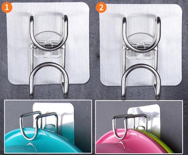 Transparent Reusable Seamless Self-Adhesive Wall Hooks, with Waterproof Design, for Bathroom, Kitchen, Utility, Towel & More