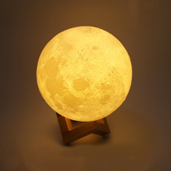 Rechargeable 3D Moon Night Light, with Touch Control & USB Charging Cable, Best Gift for Friends, Kids and More