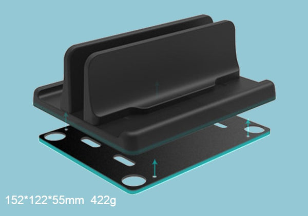 Vertical Laptop Stands, with Wireless Charging Dock & Adjustable Width, for Tablet, Laptop, Notebook