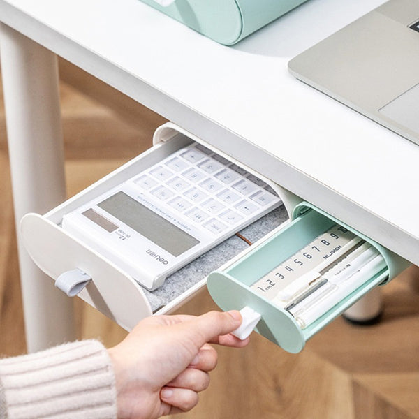 Self-Adhesive Under-Deck Sliding Drawer Organizer, for Cables, Pens, Erasers, Rulers & More