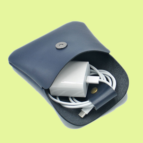 Mini Portable Leather Electronic Organizers, with Cable Tie, for Your Cables & Adapters