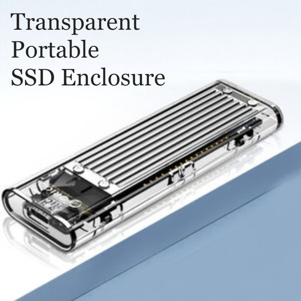 Transparent Portable SSD Enclosure, with Storage Bag, Simple Installation, Fast File Transfer, Auto-Sleep, for Study & Work