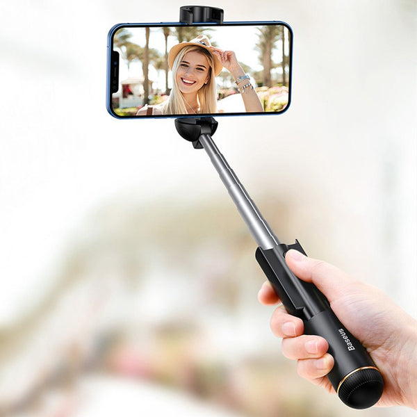 Bluetooth Retractable Selfie Stick, with Replaceable Button Battery, Compatible with iPhone & Android Phone