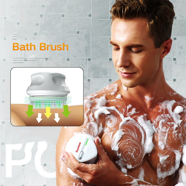 All-in-One Rechargeable Body Brush Set, with 7 Replaceable Heads & Long Handle for Body, Face, Foot, Adult & Kids