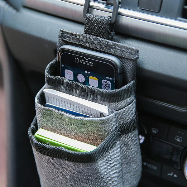 Universal Car Air Outlet Dashboard Hanging Phone Holder Pouch, with Charging Port Opening, for Phone, Sunglasses, Cards, Keys, Coins, Pens & More