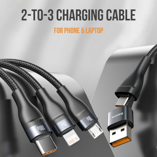 2-to-3 Fast Charging Cable (1.2m), with Double Input and Triple Output, 100W Power, Compatible with PD 20W/QC 18W