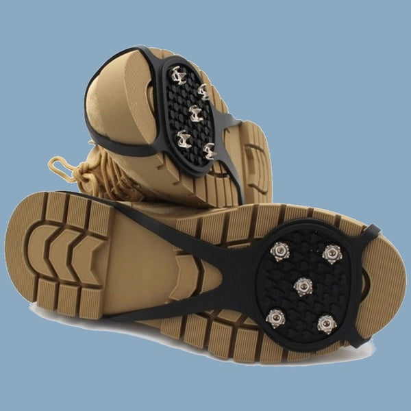 Winter Traction Crampons, with 5 Spikes Per Foot, for Icy City Sidewalks, Snowy Trail, Steep Mixed Mud & More (1 Pair)