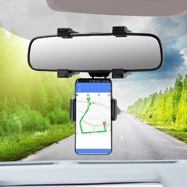 "Adjustable Car Rear View Mirror Phone Holder Bracket, with Rubber Clips & 360° Rotation, Fits 3"" to 7"" Phone Screens"