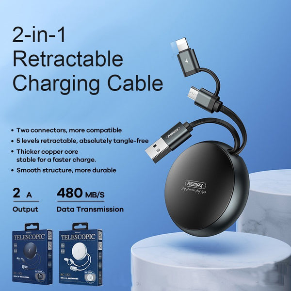 2-in-1 Portable Retractable Charging Cable, with Micro & Type-C/Lighning Connectors, Data Transmission, for Phone, Tablet & More