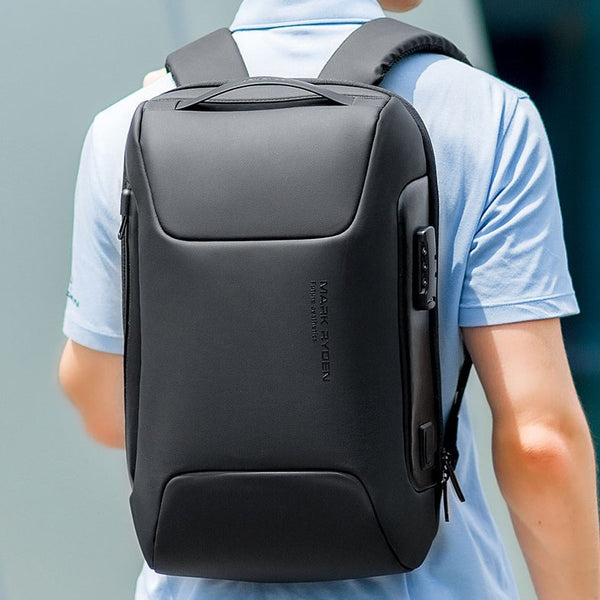 Stylish Large Capacity Backpack, with Combination Lock, Waterproof Fabric, USB Port & Anti-theft pockets, for School, Commute, or Travel