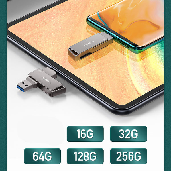2-in-1 Type-C + USB3.0 Flash Drive with Keychain, Compatible with Laptop, Phone, Tablet & More