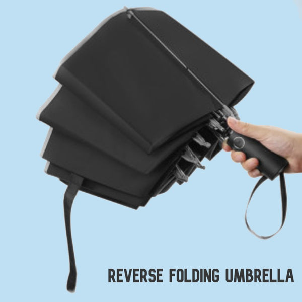 Reverse Folding Umbrella, with Window Breaker, Lined Storage Bag & Reflective Strap, for Travel & Outdoors