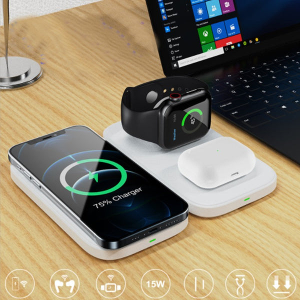 3-in-1 Foldable Wireless Charging Pad, for iPhone, iWatch & Airpods