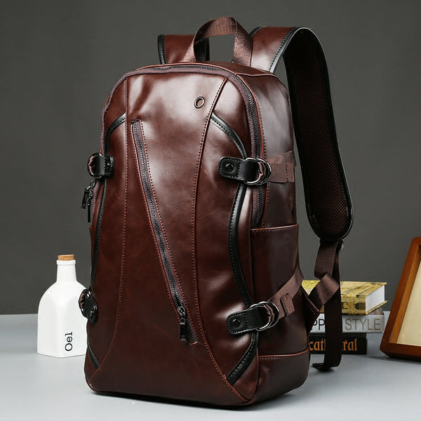 Brown Business Leather Backpack, with Easy-to-carry Top Handle for Travel, Work and Outdoors