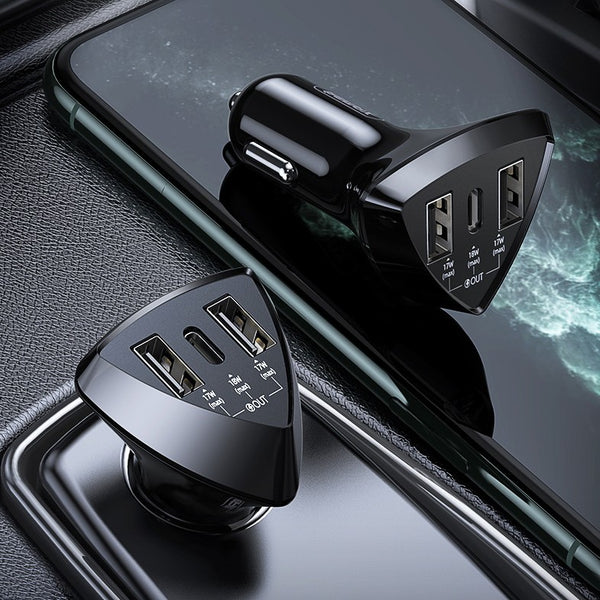 18W PD Fast-charging Car Charger, with 2 USB-A & 1 USB-C, for Phones, Tablets & More