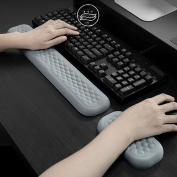 Keyboard & Mouse Wrist Rest, with Ergonomic Design, Breathable Memory Foam & Anti-slip Backing, for Home & Office