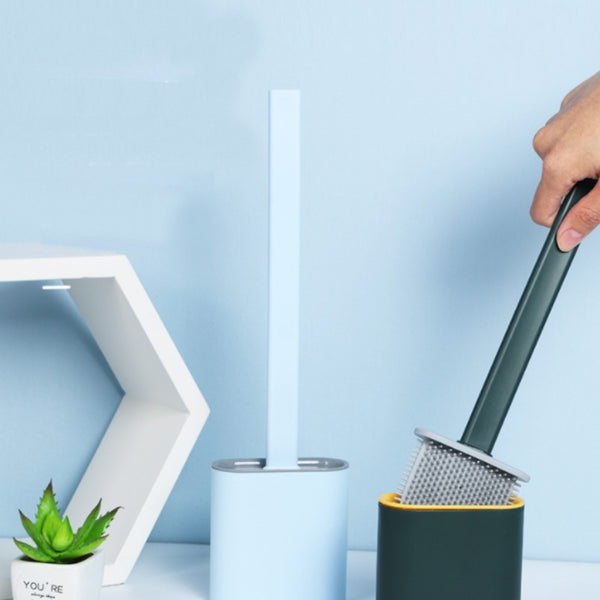 Silicone Bathroom Toilet Brush and Holder Set, with Non-Slip Long Plastic Handle, Bendable Brush Head and Wall-Mounted Design