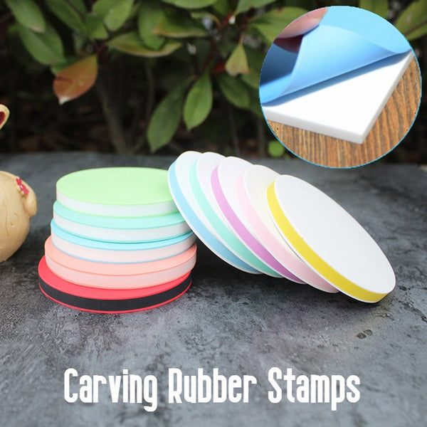 Round Rubber Stamp, with Easy-to-peel Design, for Printmaking, Printing and More