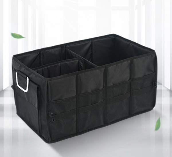 Multifunctional Foldable Car Trunk Storage Box, with 50L Large Capacity, Detachable Partition and Scratch-resistant and Easy-to-clean Design