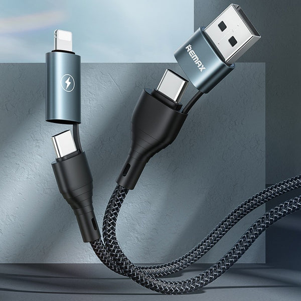 4-in-1 1.2m USB Charging Cable, with Interchangeable Connectors, Nylon Braided Wire, Fast Data Transmission, Lightning, Type-C, Micro and USB-A