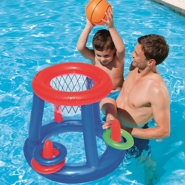 Inflatable Pool Float Set, Including Balls, Gate or Net and Pump, for Summer Party & Fun Water Games, for Kids and Adults