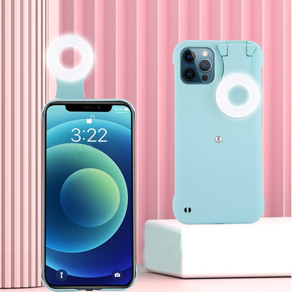 Light-up Selfie Phone Case, with LED Ring Light & Dust Plug, for Tiktok, Live Streaming, Selfie & More