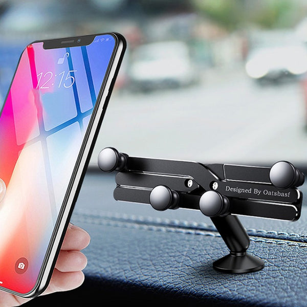 Gravity Phone Holder for Car, with Auto-Clamping Design, Compatible with Most Phones